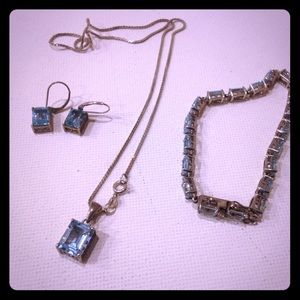 Aquarium princess cut jewelry set